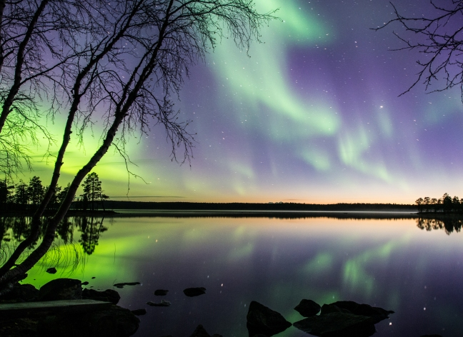 Aurora Borealis over Ellenvattnet lake