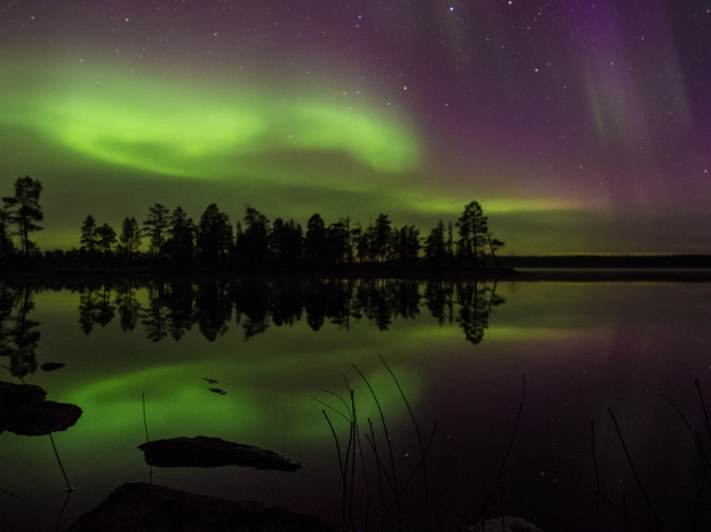 Northern Lights on the Ellenvattnet lake