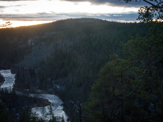 River Nuortti as the sun is goimg down