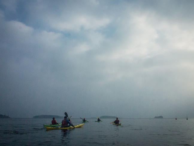 Cloudy skies while kayaking in November