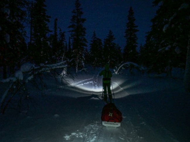 Skiing after dark in January