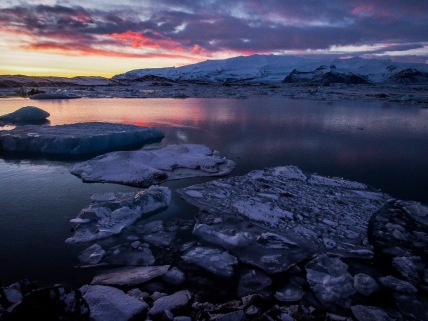 Sunset at Jokulsarlon Ice Lagoon
