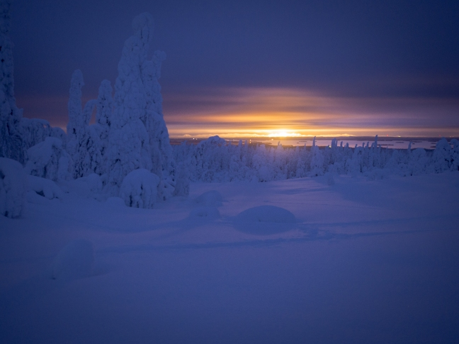 The lights of Ruka from Riisitunturi National Park