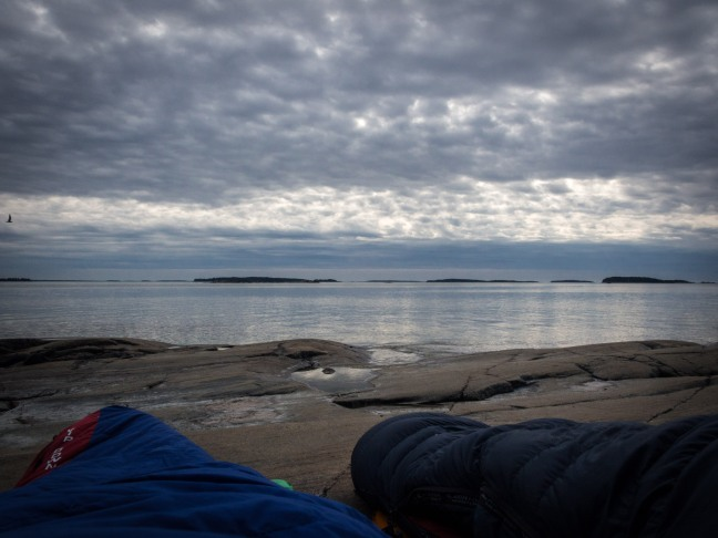 Sleeping on the shore in the Helsinki archipelago