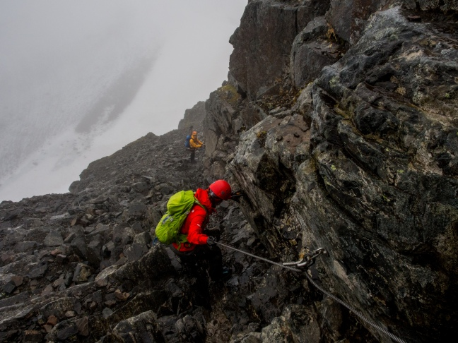 Going down the Via Ferrata route at Kebnekaise
