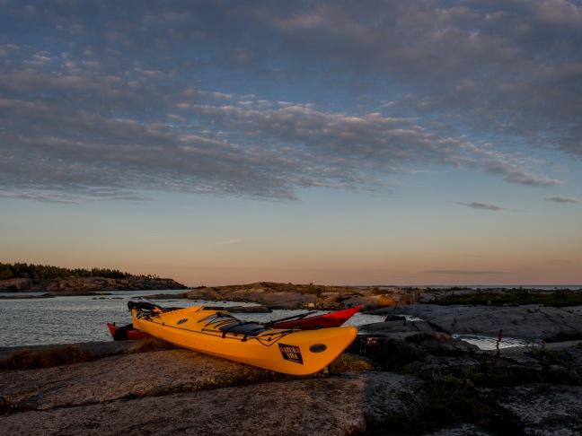 Kayaks at sunset