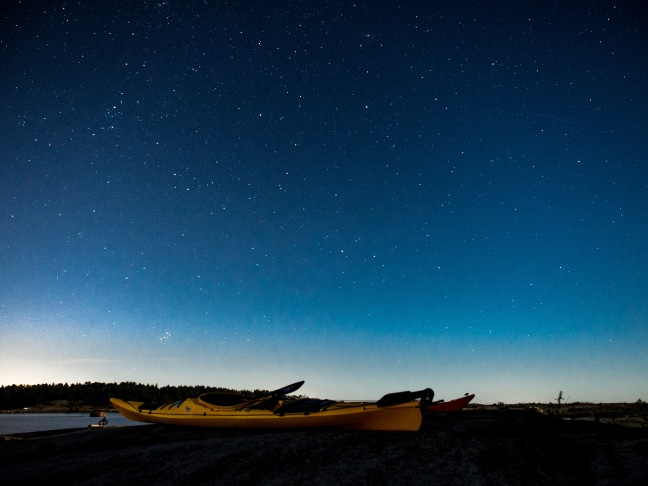 A kayak under the stars