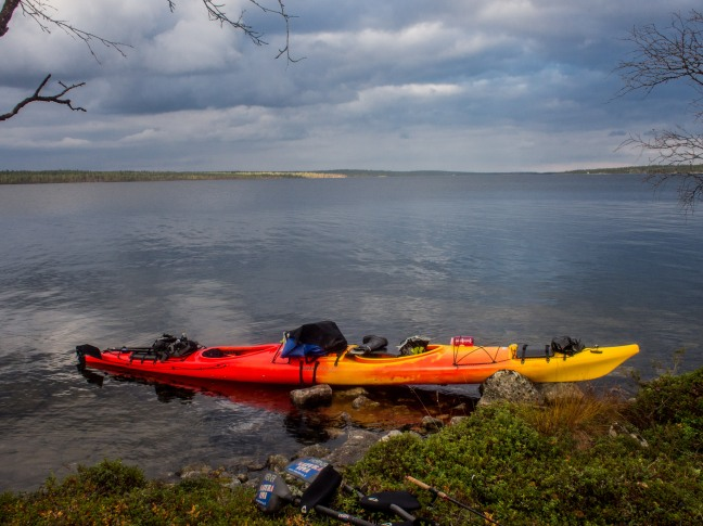 Kayaking on Lake Inari