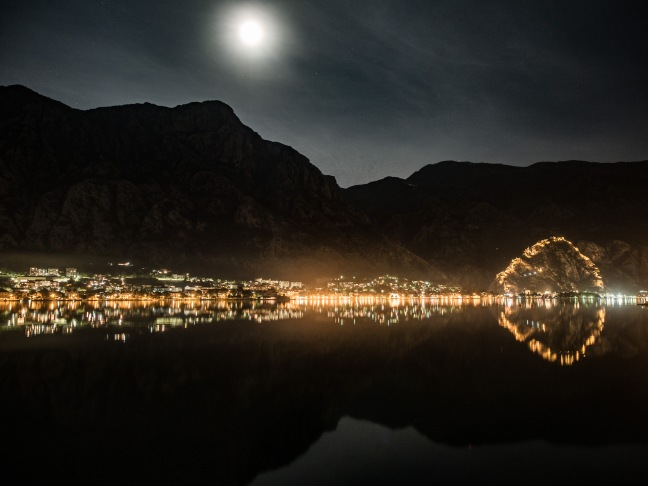 The bay of Kotor and the moon