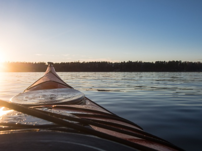 Sunset in a kayak, Helsinki, Finland